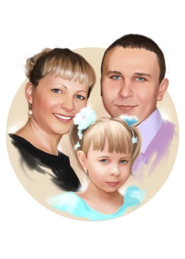 Семейный портрет по фото на холсте в Иваново — правильный подарок!