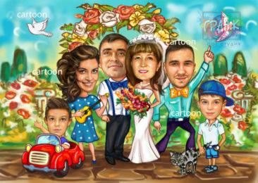 Шарж по фото на годовщину свадьбы на заказ в Иваново…